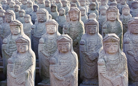 1000 arahan statues at  Gwaneumsa buddhist Temple at Jeju Island Korea Stock Photo