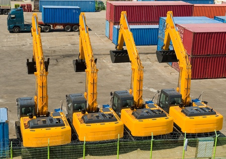 excavators import export in the korean port Sokcho  Editorial