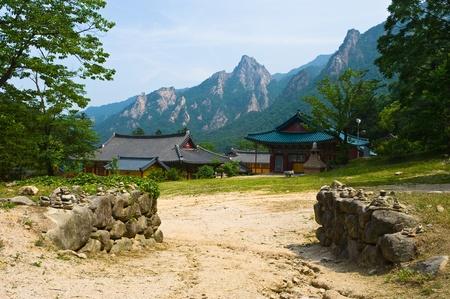 The yard of Buddhist Sinheungsa Temple in Seoraksan National Park, South korea photo