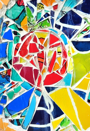mosaic wall decorative ornament from ceramic broken tile  Stock Photo
