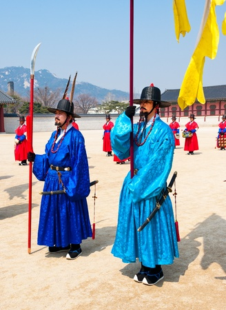 SEOUL - MARCH 30: Royal guards during the changing of the guard ceremony at Gyeongbokgung Palace, March 30, 2011, Seoul, South Korea Stock Photo - 10820441