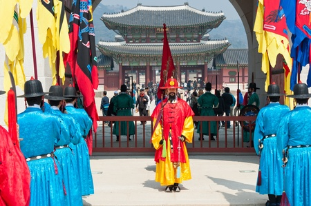 SEOUL - MARCH 30: Royal guards during the changing of the guard ceremony at Gyeongbokgung Palace, March 30, 2011, Seoul, South Korea