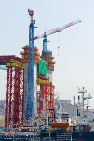 formwork: construction of big guyed bridge in the russian Vladivostok over the Golden Horn bay