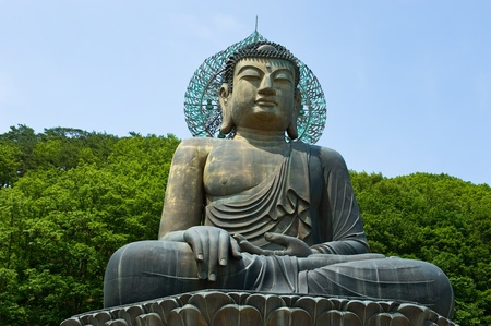Giant statue of Buddha in the Sinheungsa Temple in Seoraksan National Park, South korea Stock Photo
