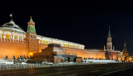 spassky: Night view of Moscow Red Square, Mausoleum of Lenin and Russian Government building