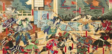Samurai battle on old vintage Japanese Traditional paintings
