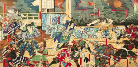 traditional weapon: Samurai battle on old vintage Japanese Traditional paintings