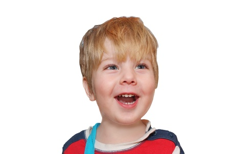 happy kid laughing with open mouth  photo