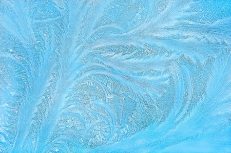 tree like fractal blue ice winter decoration on a window natural background  photo