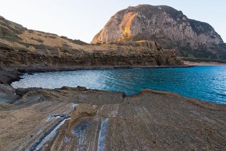 famous natural monument Yongmeori Coast volcanic rocks at Sanbangsan at Jeju island of South Korea