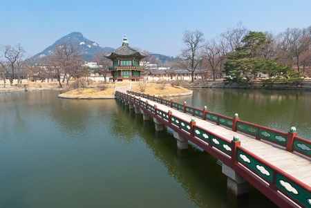 View landsaft from  Emperor Kyoungbok palace at Seoul, South Korea photo