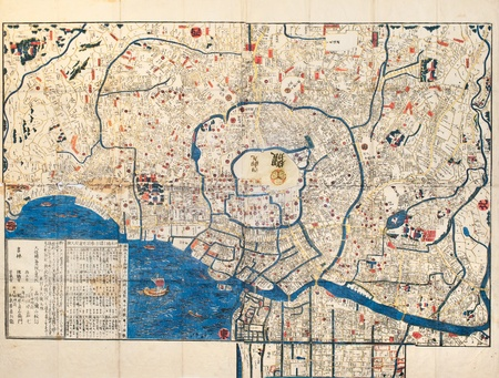 Ancient map of old japanese capital Edo Tokyo photo