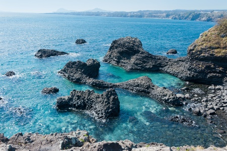 the largest: Jungmun Daepo Haean Jusangjeollidae at Jeju Island - The largest pillar rock formation in Korea
