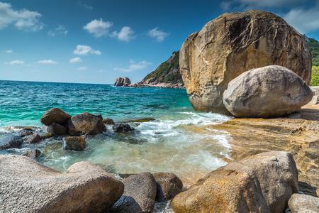 nang: Rocky beach view of Koh Tao island Thailand