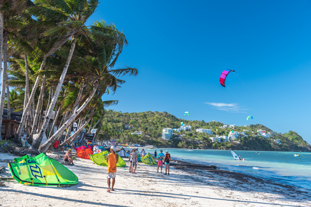 kiteboarding: Boracay island, Philippines - January 25: strong wind at Bulabog beach, one of the most sought-after spots for kiteboarding and windsurfing, on January 25, 2016, Boracay island, Philippines. Editorial