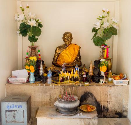 mummified: the mummified monk at the buddhist temple of Samui island Thailand