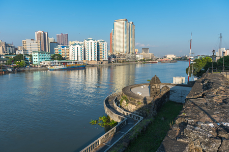 river main: The view of Fort Santiago and buildings along the Pasay River, Intramuros, Manila, The Philippines. Editorial