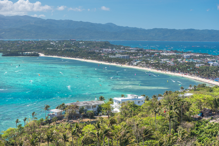 kiteboarding: View of Bulabog beach, one of the most sought-after spots for kiteboarding and windsurfing, Boracay island, Philippines. Stock Photo