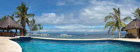 water  panoramic: Panoramic view of public water pool at Balicasag island of Philippines