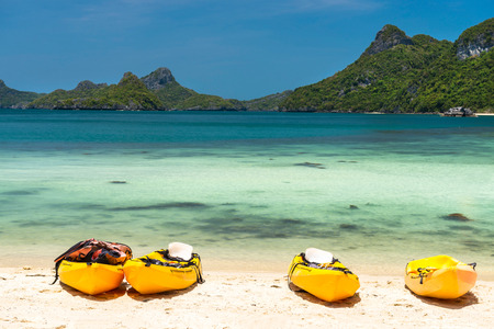 angthong: kayaks on a beach at Angthong national marine park near Koh Samui, Thailand