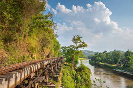 railway: Death Railway and Bridge of Death at River Kwai, was built by the Empire of Japan in 1943, on World War 2 in Kanchanaburi, Thailand. Stock Photo