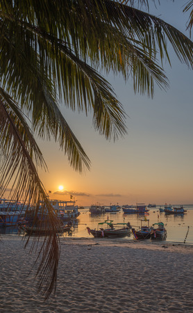 tao: sunset sea coast view at Koh Tao island , Samui, Thailand Stock Photo