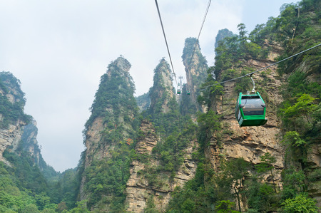ropeway: Aerial ropeway in the famous Avatar Mountains, Zhangjiajie National Park, China