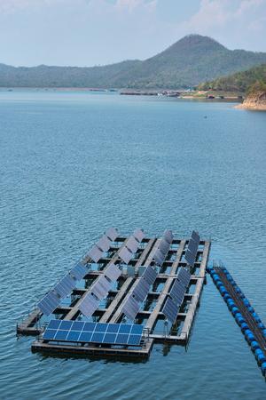 gelio: Solar cells on the lake of Srinagarindra Dam on Khwae Yai River Thailand