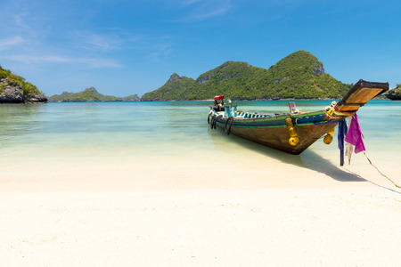 beach panorama: Traditional fishing longtail boat at Angthong national marine park near Koh Samui, Thailand Stock Photo