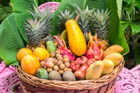 plateful: plate full of exotic thailand fruits