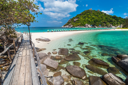 View of Nang Yuan island of Koh Tao island Thailand Stock Photo