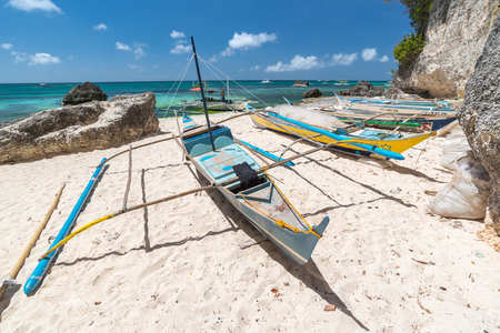Tropical landscape with traditional Philippines fisherman boats , Philippines Editöryel