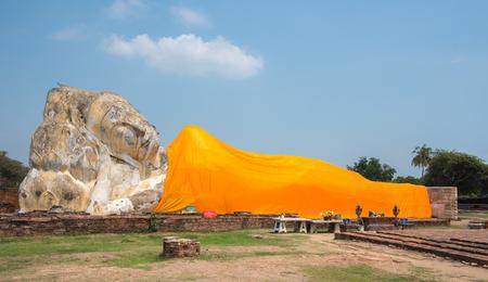 Reclining Buddha at Wat Lokayasutharam temple,Ayutthaya, Thailand
