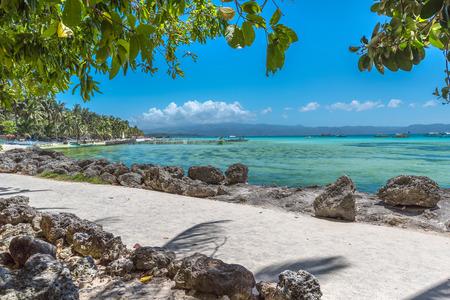View of White Beach at Boracay island of Philippines Standard-Bild