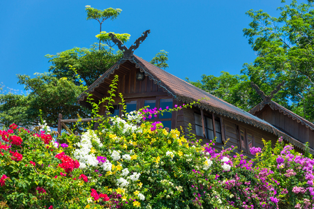 Original Flower Bed at guest house of Paradise Park, Samui, Thailand Stock Photo