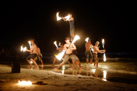 KOH SAMED, THAILAND - MARCH 24: Firestarters public show at the beach of the Koh Samed Samet island Thailand, on March 24, 2015.