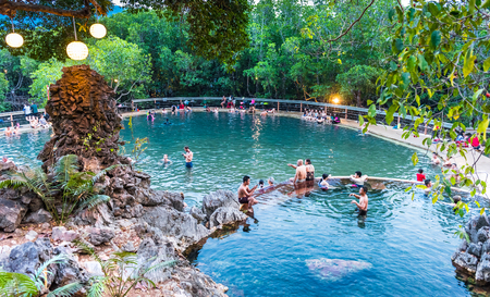 BUSUANGA PHILIPPINES - MARCH 29, 2018 : People tourists at Maquinit Hot Spring at Busuanga island near Coron town, Palawan