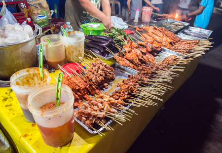 Traditional philippines street barbeque banquet at coron town  busuanga island