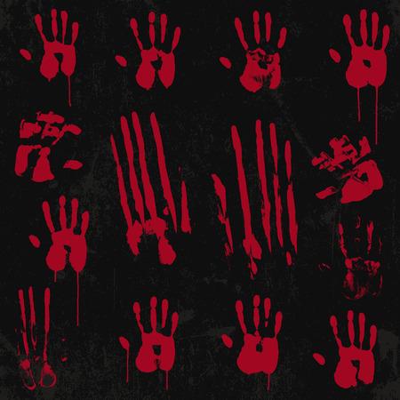 bloody hand print: Bloody impresi�n de la mano y el sello fijaron 01