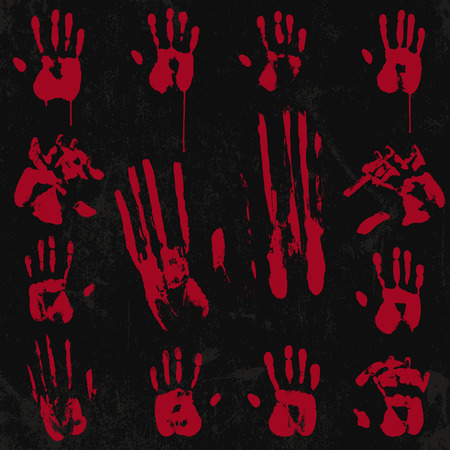 Bloody Hand Print and Stamp set 02 Vector