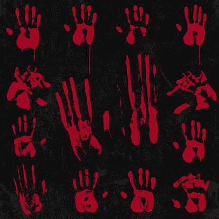 bloody hand print: Bloody impresi�n de la mano y el sello conjunto 02