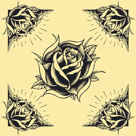 Rozen en Frame Tattoo stijl ontwerp