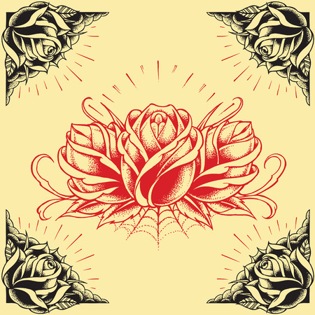 Roses and Frame Tattoo style design