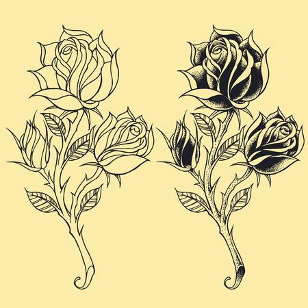 Roses Oldskool Tattoo style elements   Illustration