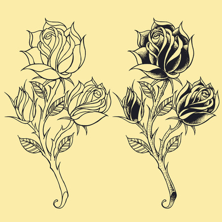 thorns  sharp: Roses Oldskool Tattoo style elements   Illustration
