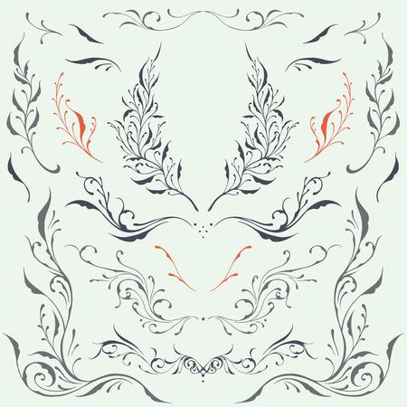 florid: Floral frame and Border Ornaments Illustration