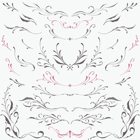 handwrite: Floral frame and Border Ornaments