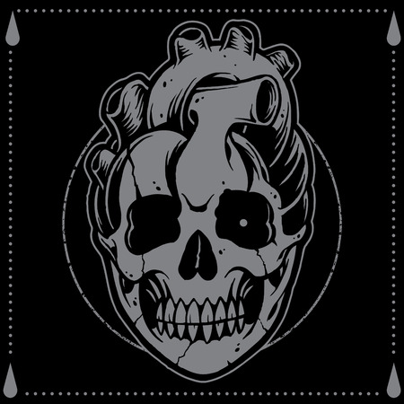 Heart shape Skull Old school Tattoo Style  Vector