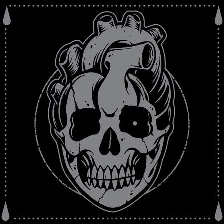 Heart shape Skull Old school Tattoo Style