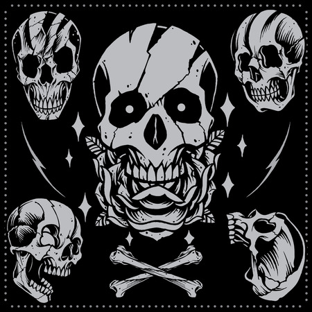 Skull and Rose old school Tattoo style Vector